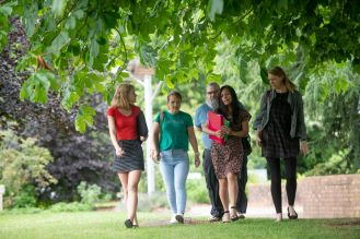 Lauren, Emma, Ray, Chelle, Caroline walking